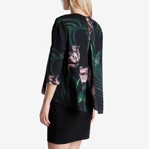 Ted Baker Green Palm Floral Layered Tunic Dress 0